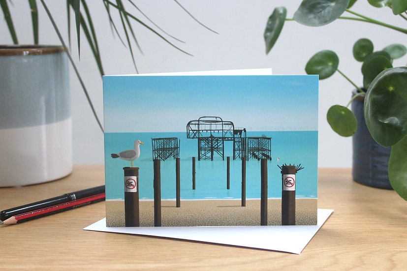 The swimmer, Brighton West Pier greetings card