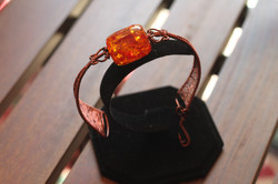 Woven copper bracelet orange bead