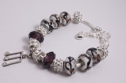 Music charm bracelet - white purple