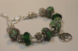 Tree of life charm bracelet - green