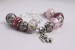 Animal charm bracelet- various pink