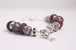 Key charm bracelet - purple