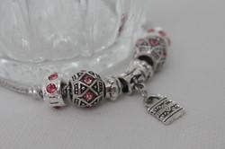 Lock charm bracelet pink metal