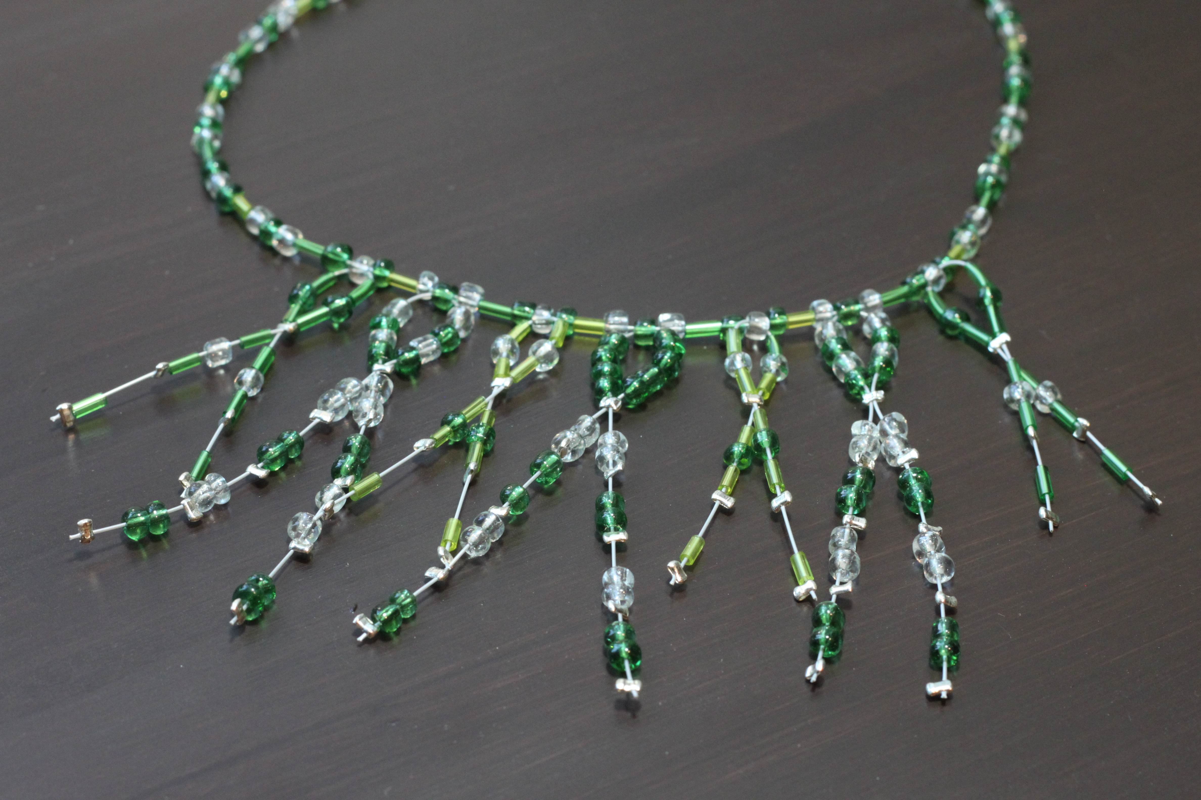 Necklace with crystal emerald beads