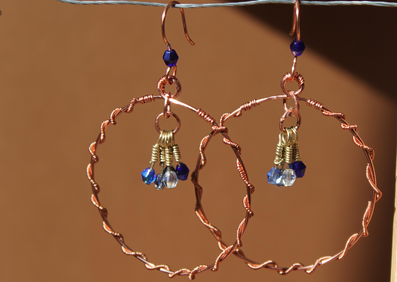 Hoop earrings-coiled-bead dangles