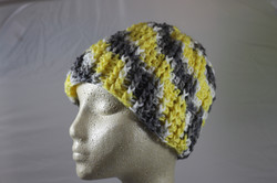 Ridged Crochet Hat - Lemon drop