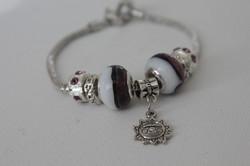 Sun charm bracelet white black