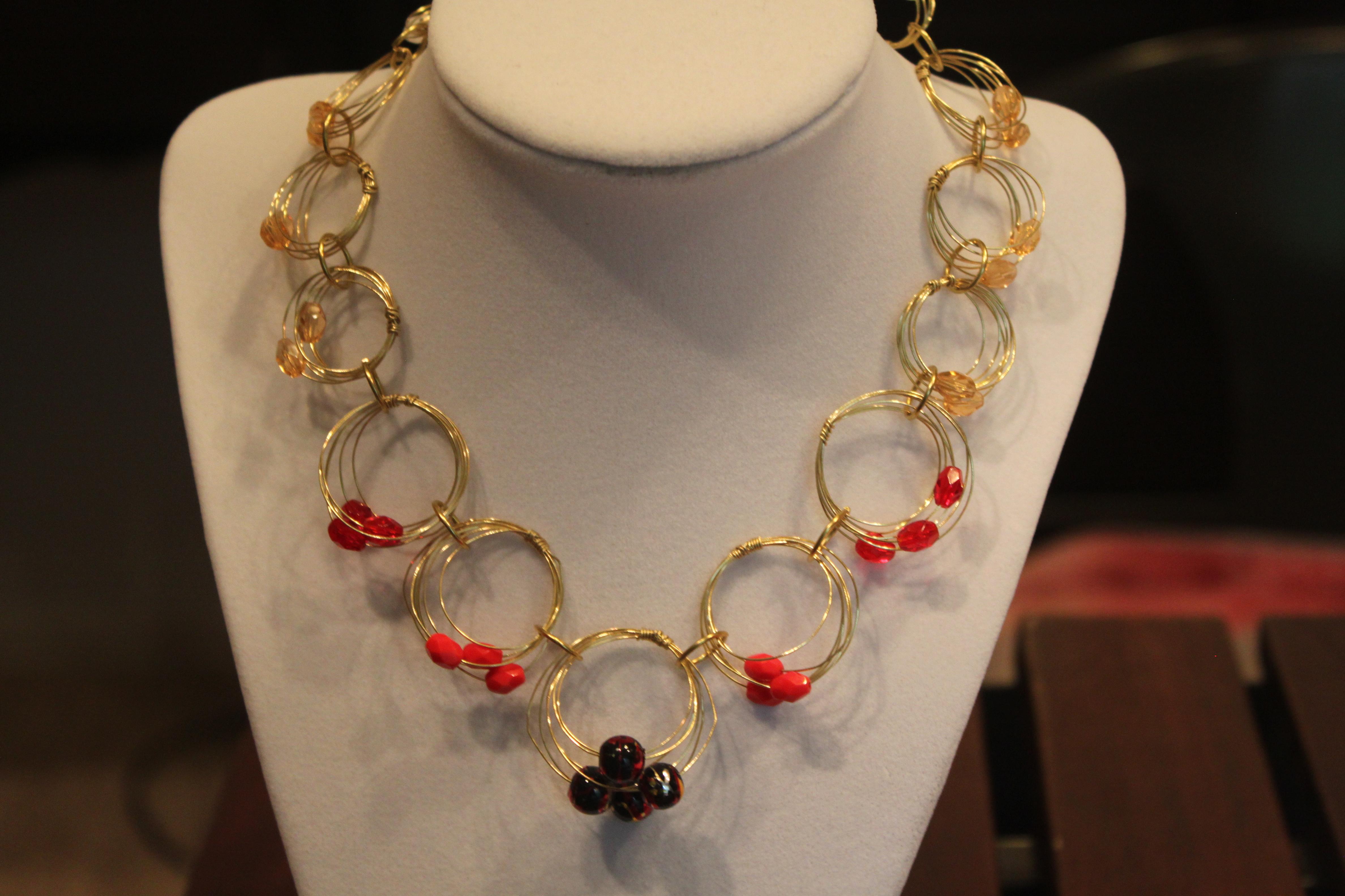 Necklace hoop brass wirework