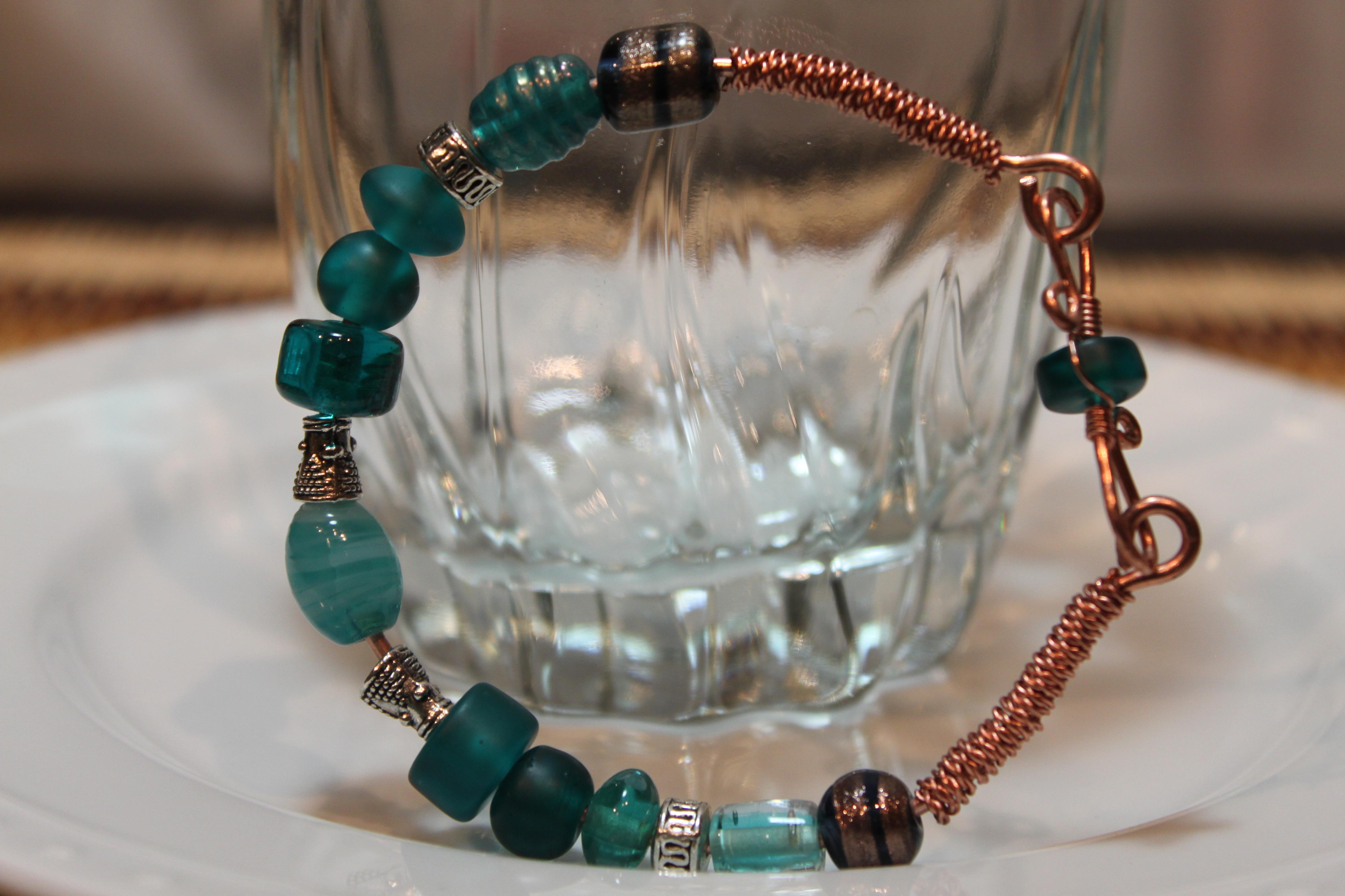 Copper bracelet blue sapphire beads