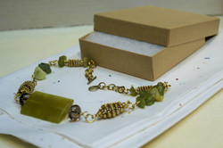 Necklace gemstone jade coiled wire