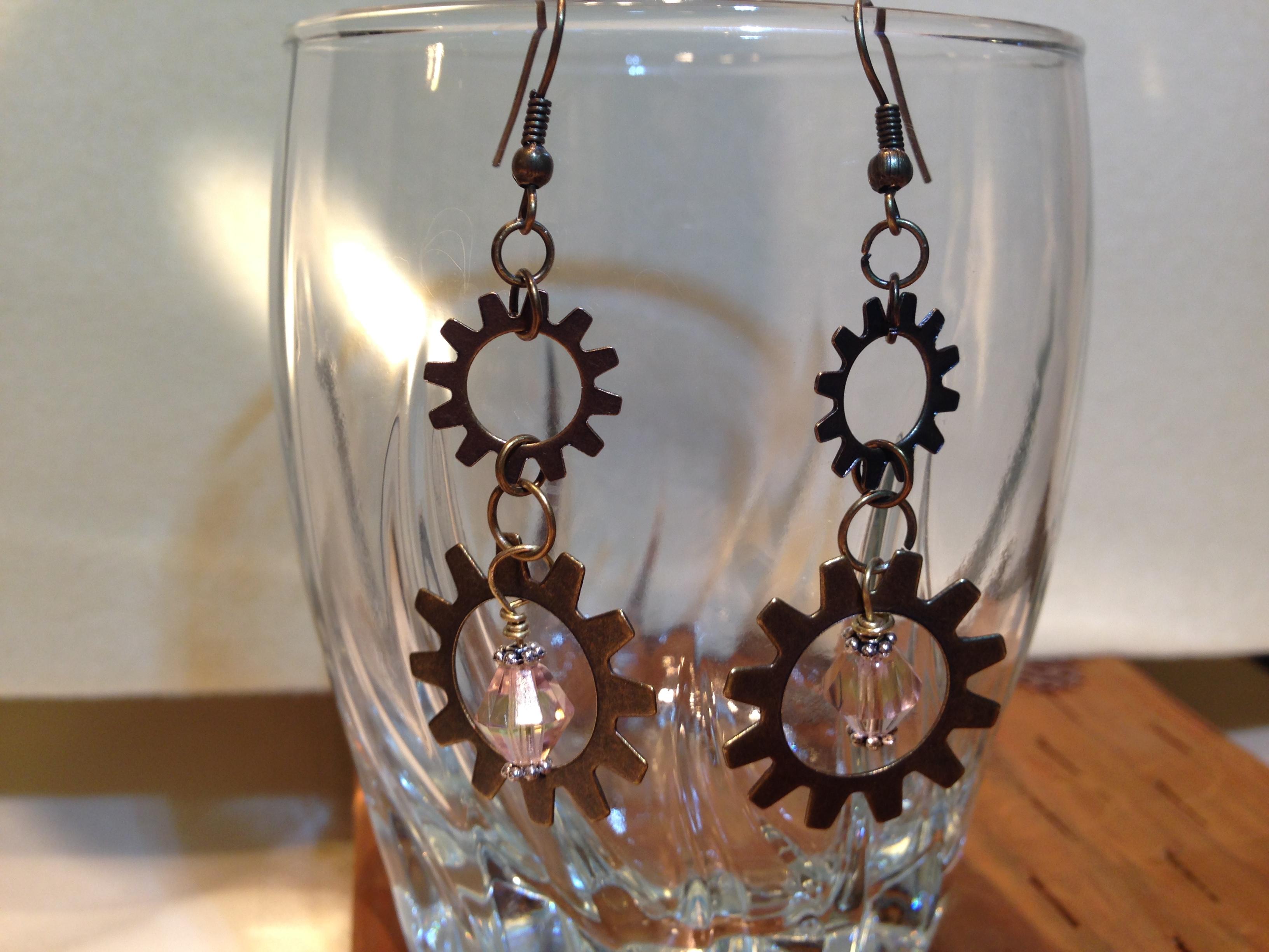 Earrings found objects bronze