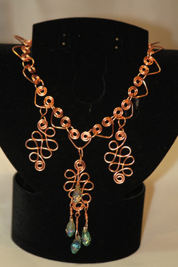 Copper necklace heart links