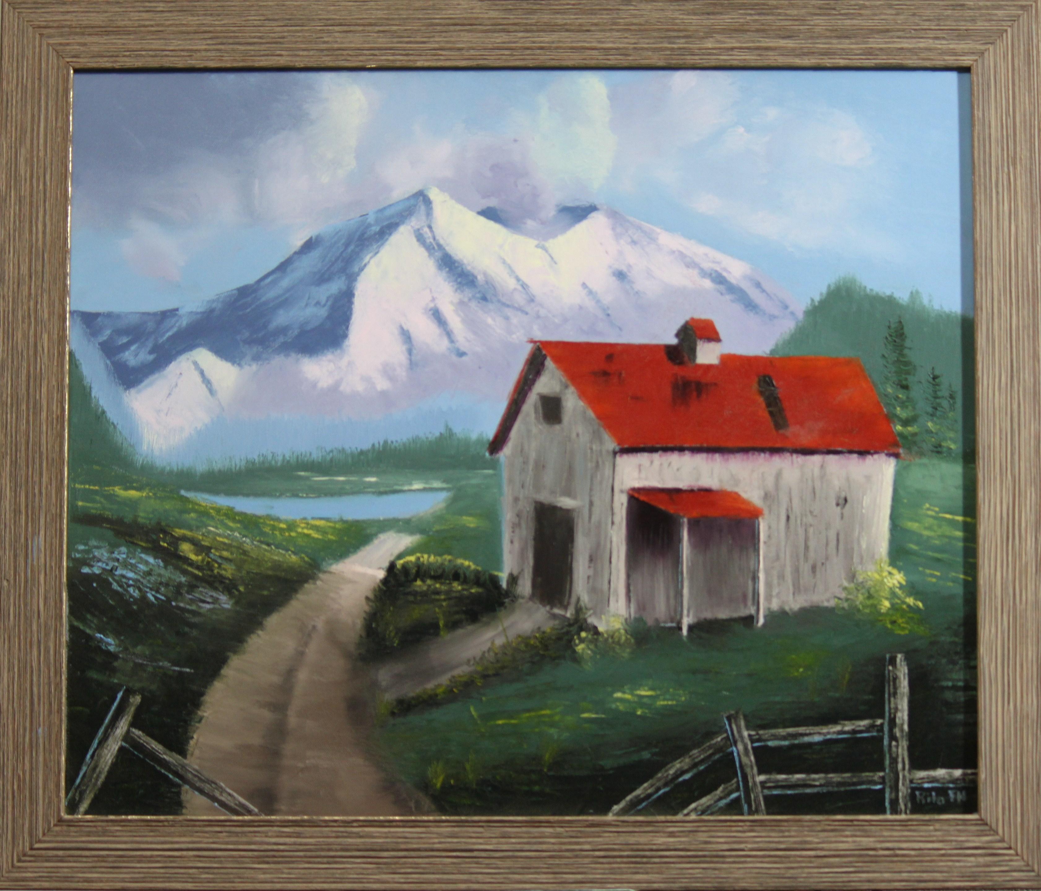 Barn, oil painting, art, decor