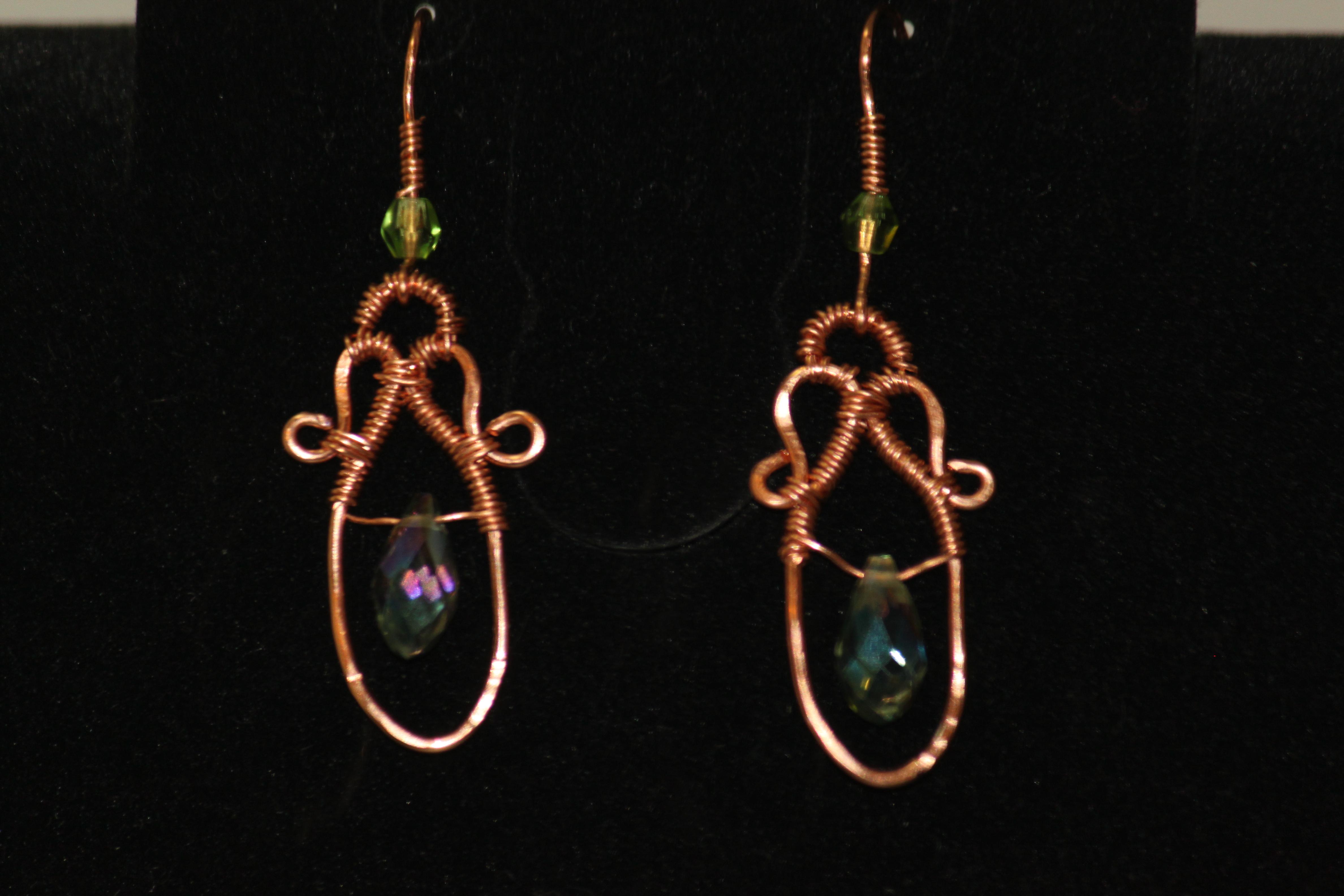 Copper wirework earrings teardrop