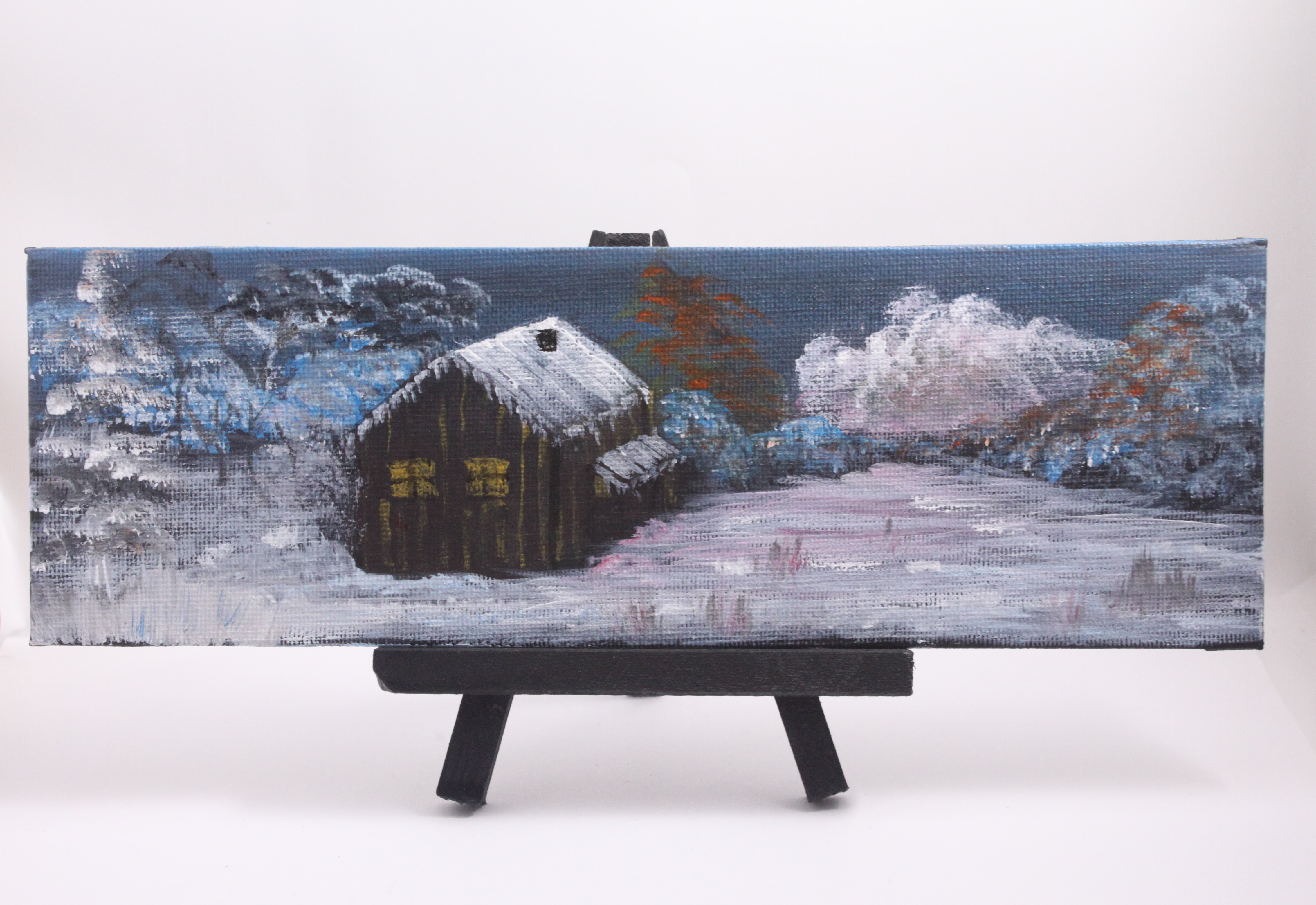 Winter cabin - mini painting