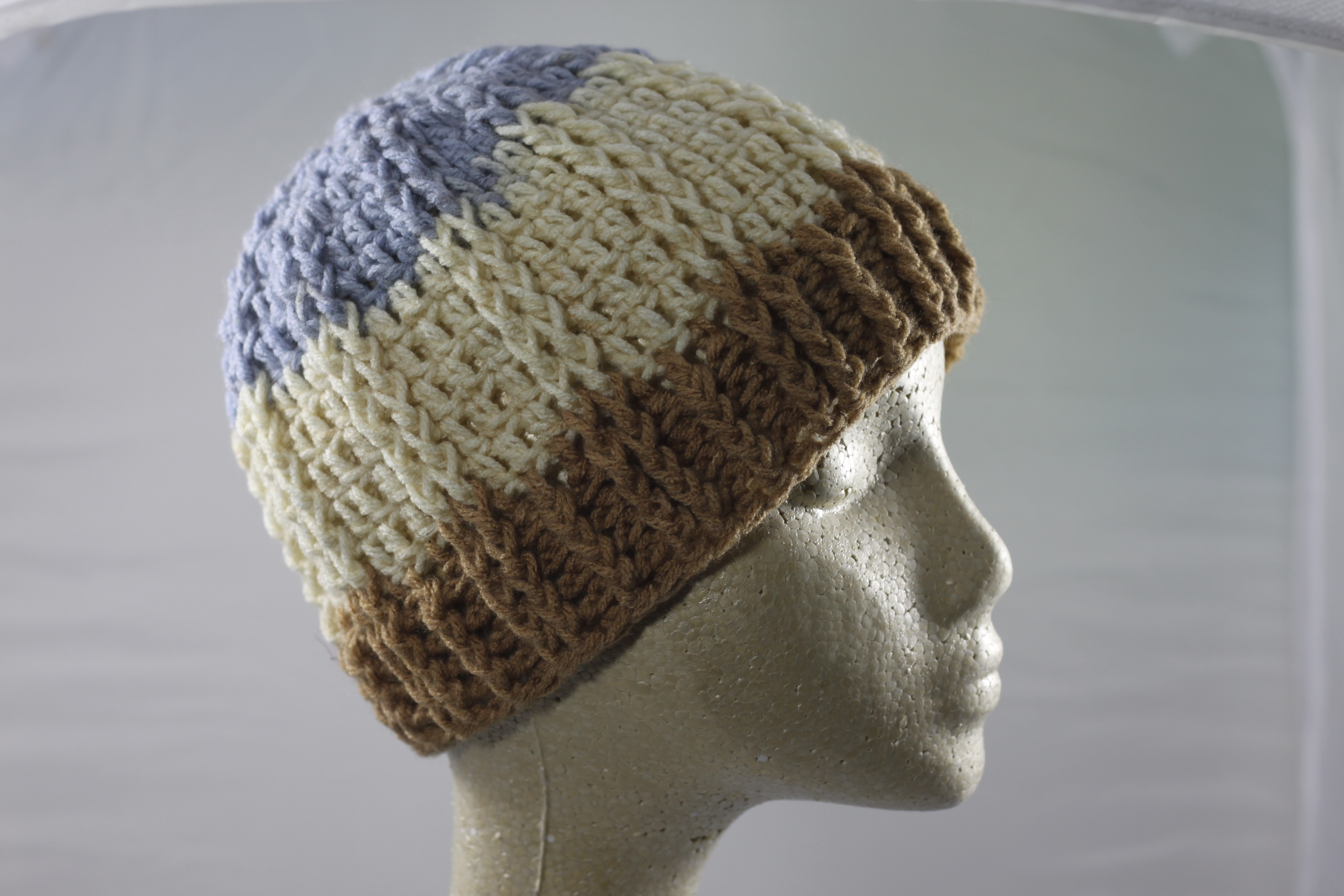 Ridged Crochet Hat - Cappuccino