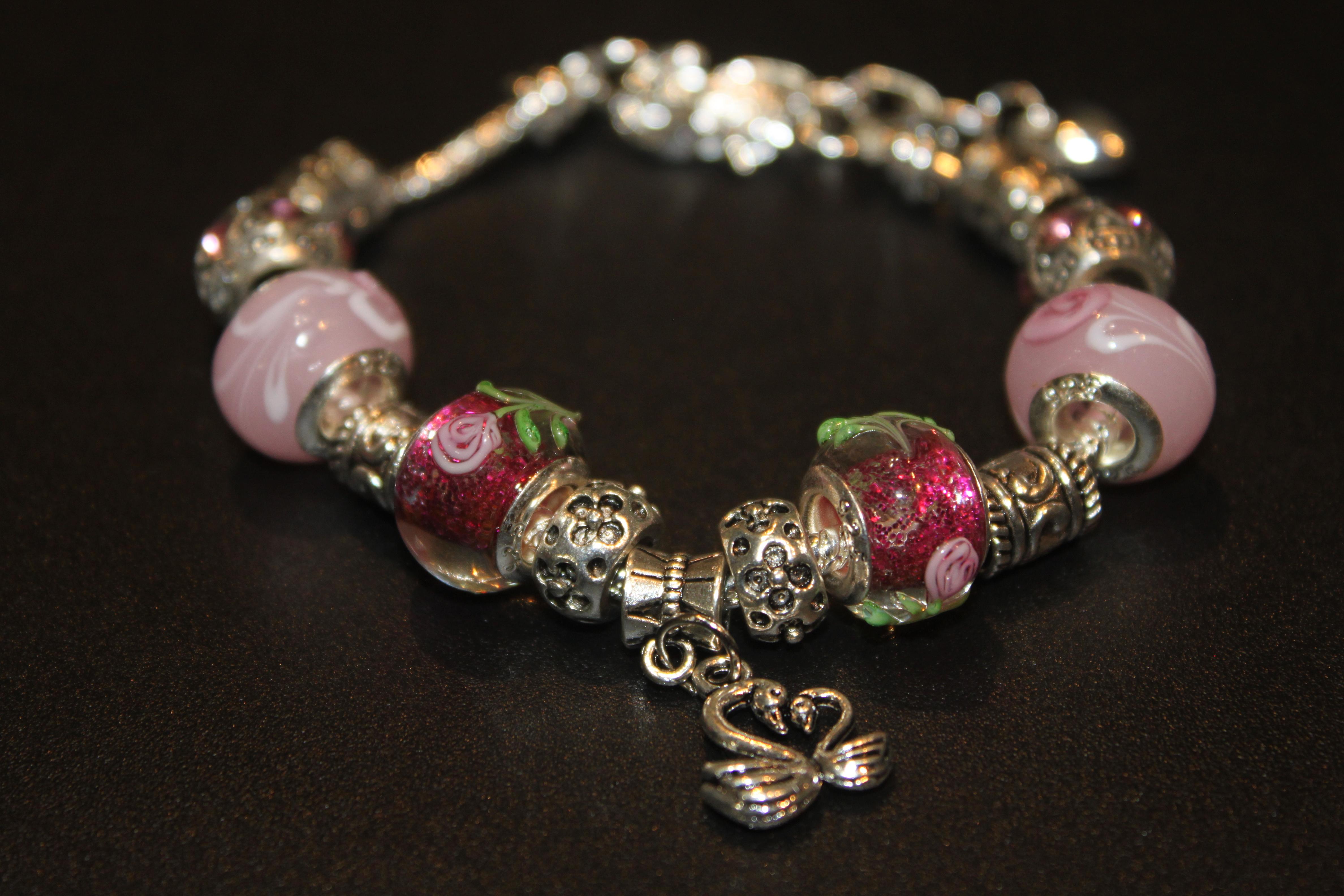 Swans charm bracelet - Rose