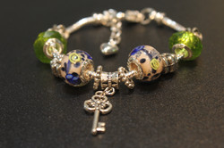 Key charm bracelet-Olive Green