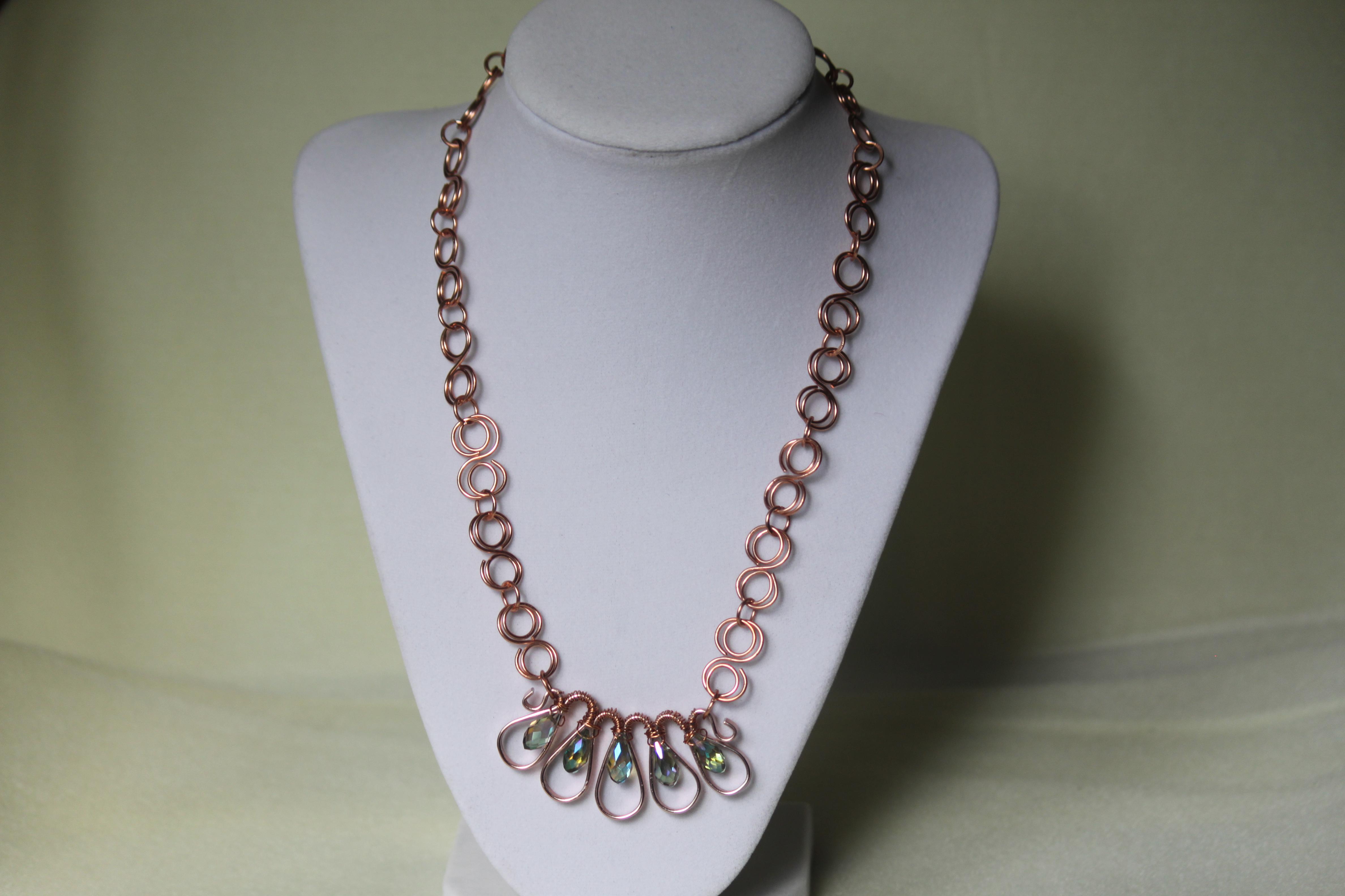 Necklace wavy flat wire teardrop beads IMG_5403