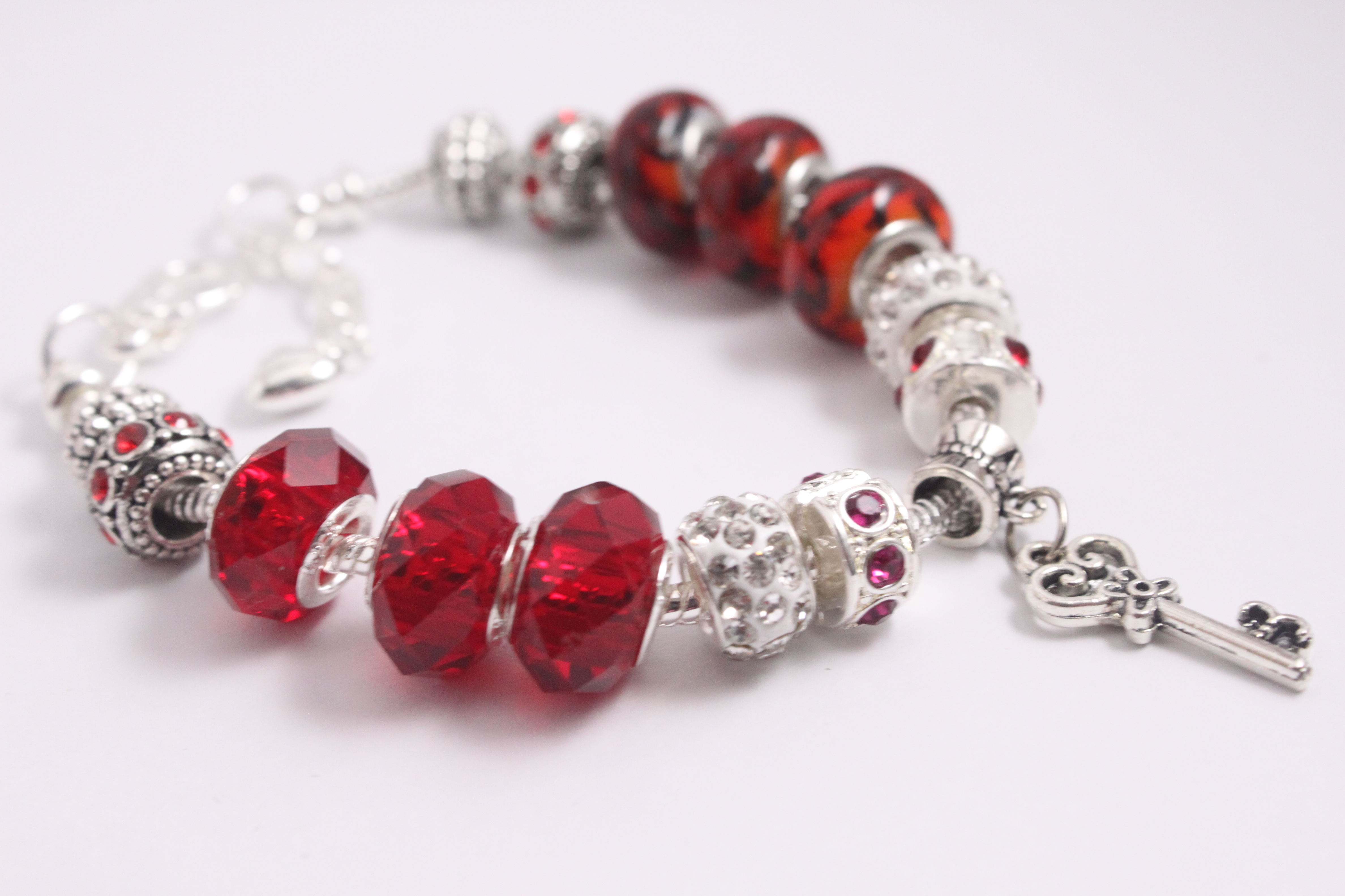 Key charm bracelet - red