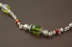 Necklace Czech beads olive green