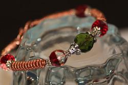 Copper bracelet, coiled, Czech beads