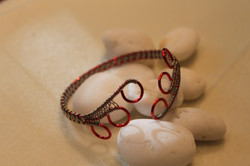 Simple woven bracelet red silver
