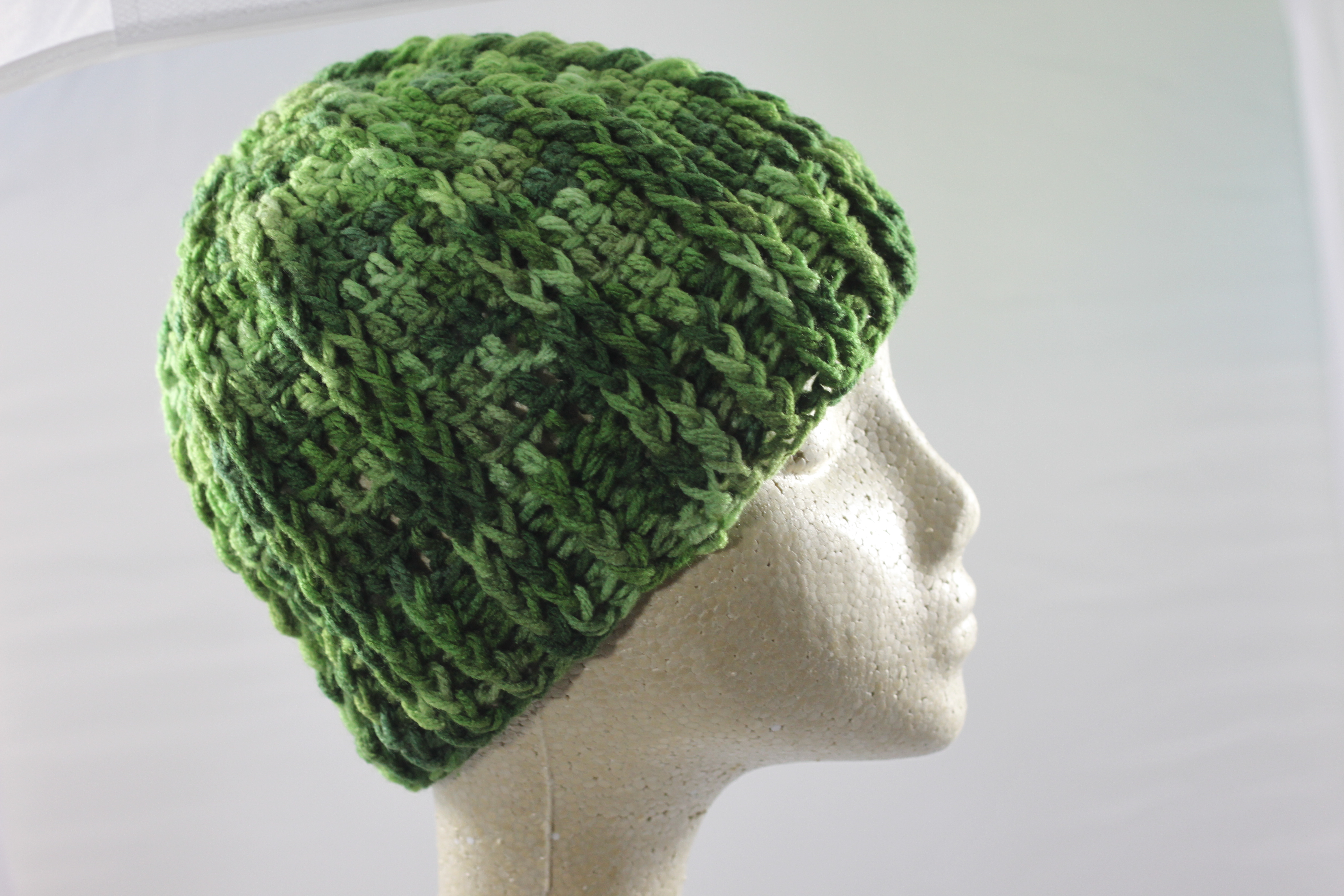 Ridged Crochet Hat - Green Tone