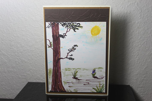 Landscape painting, sun shines, hand painted card, 5x7 in,  watercolor painting