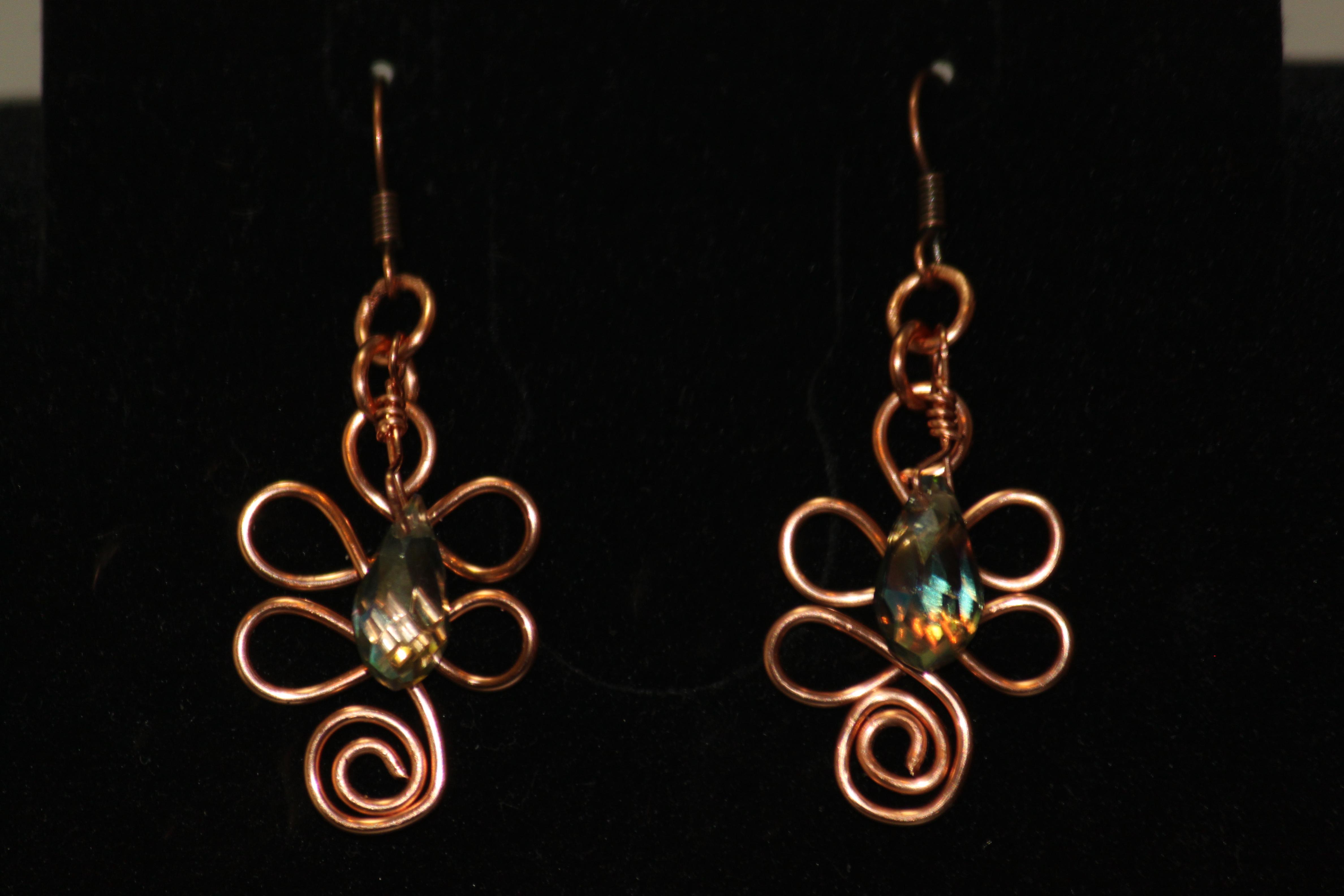 Earrings-flower shape copper wire