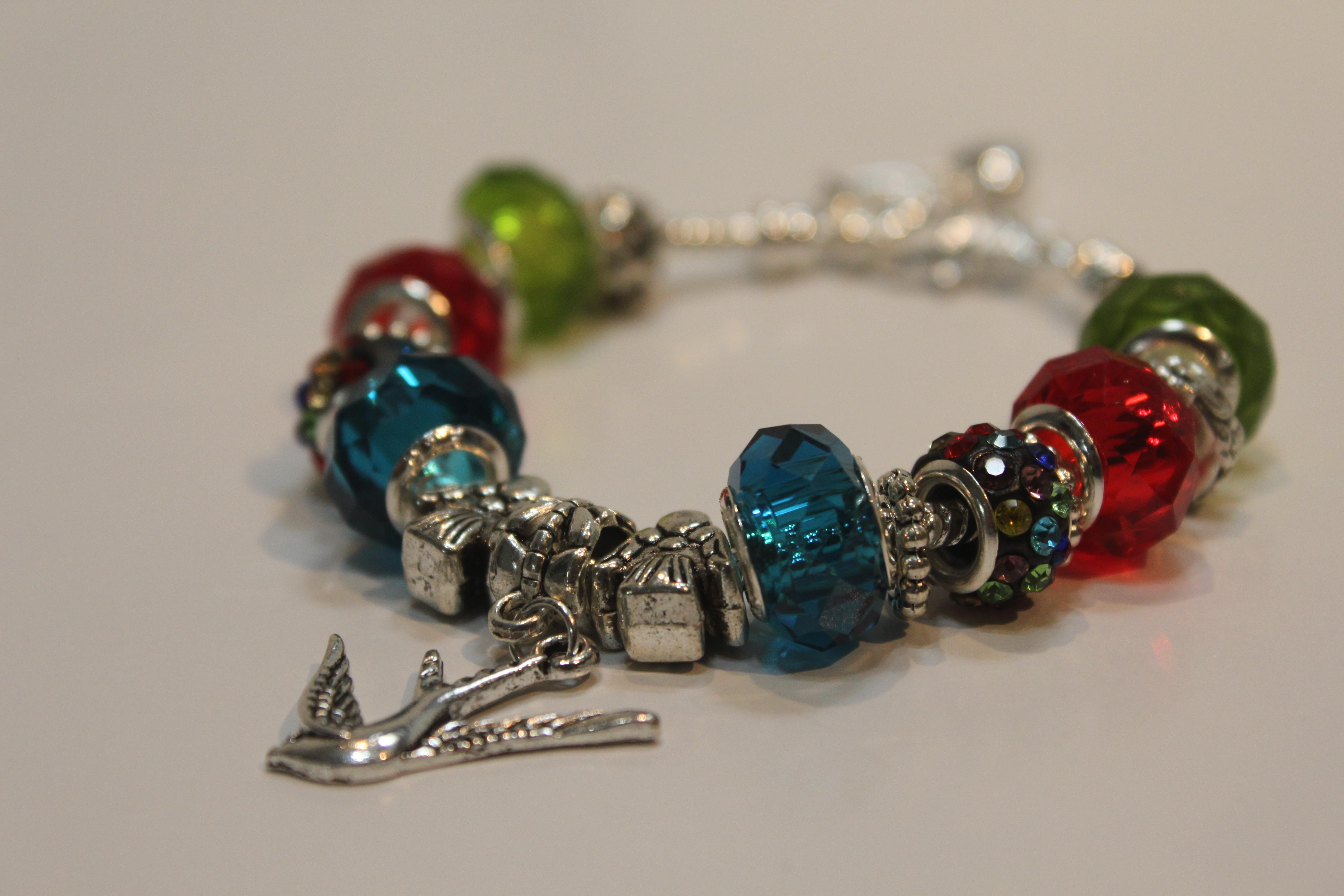 Bird charm bracelet - red blue green