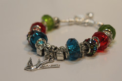 Bird charm bracelet - red blue green