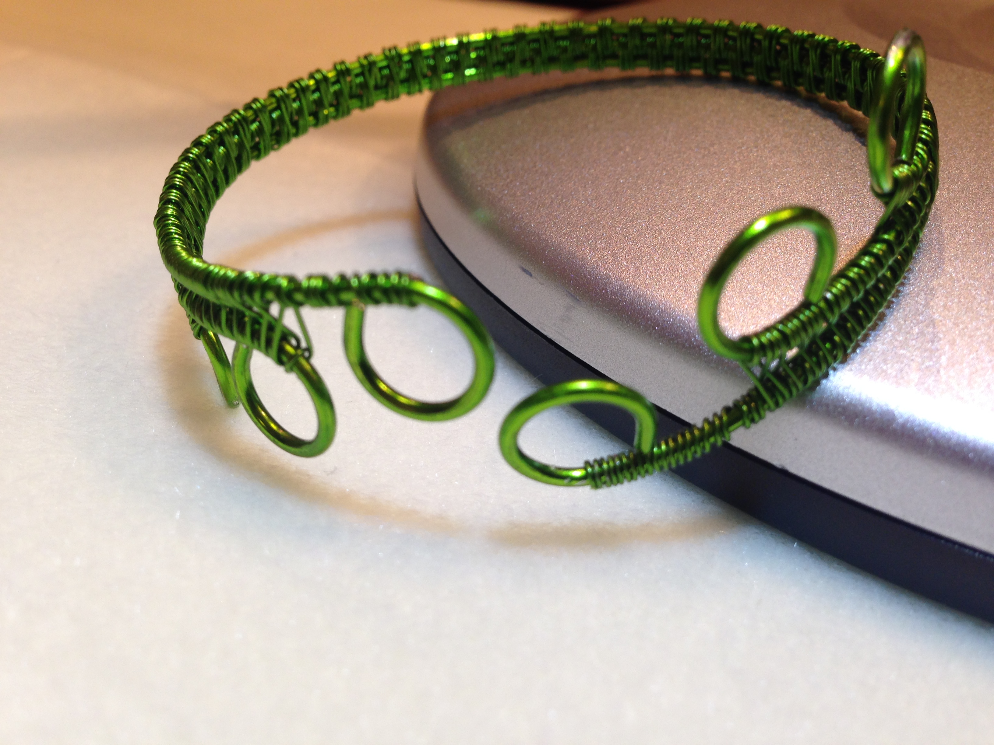 Simple woven bracelet lime green
