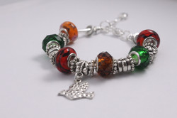 Bird charm bracelet - red green