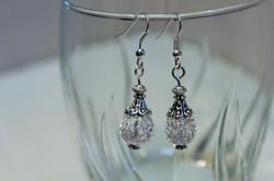 Earrings white glass bead mesh