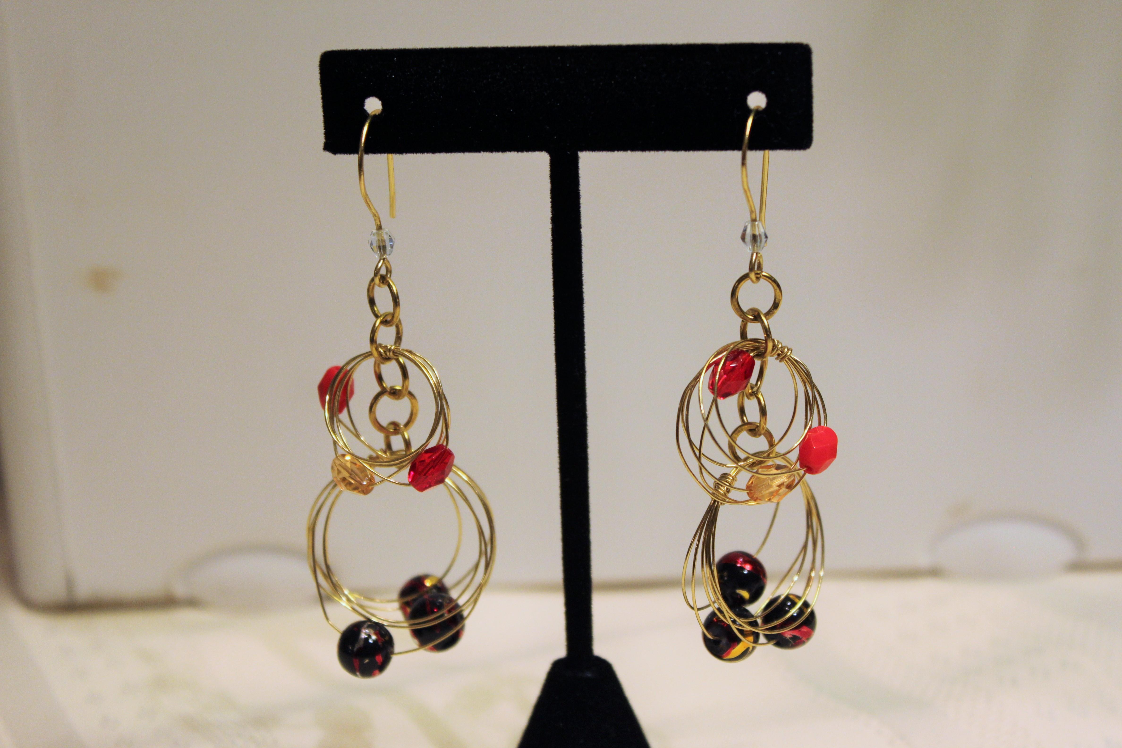 Cascade hoop earrings brass golden