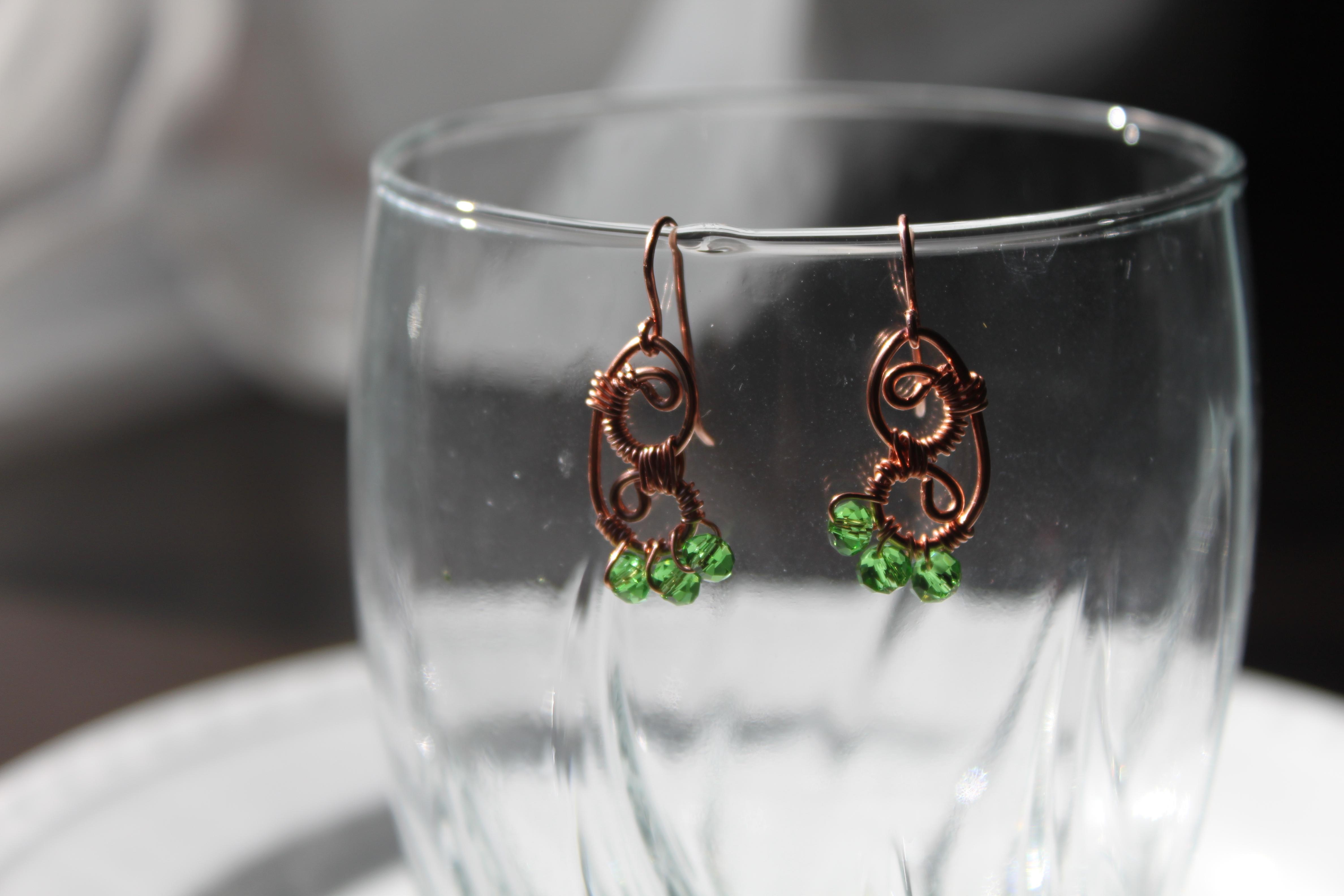 Earrings butterfly shape copper wire