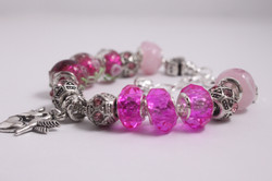 Bird charm bracelet - bright pink