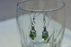 Earrings Green Glass Bead Mesh