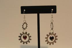 Earrings found objects in silver