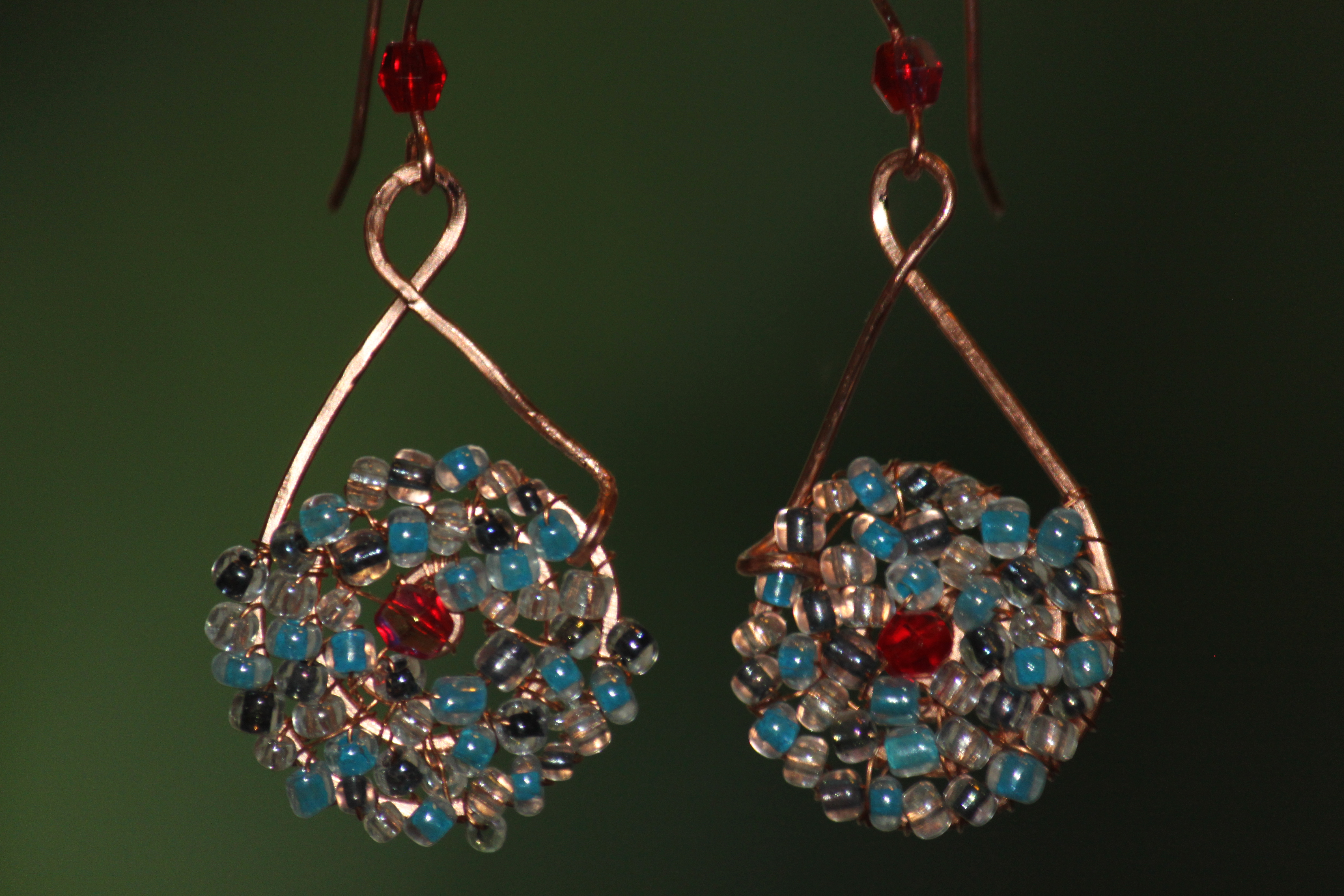 Earrings - wrapped with glass beads