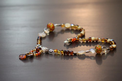 Necklace in amber glass beads