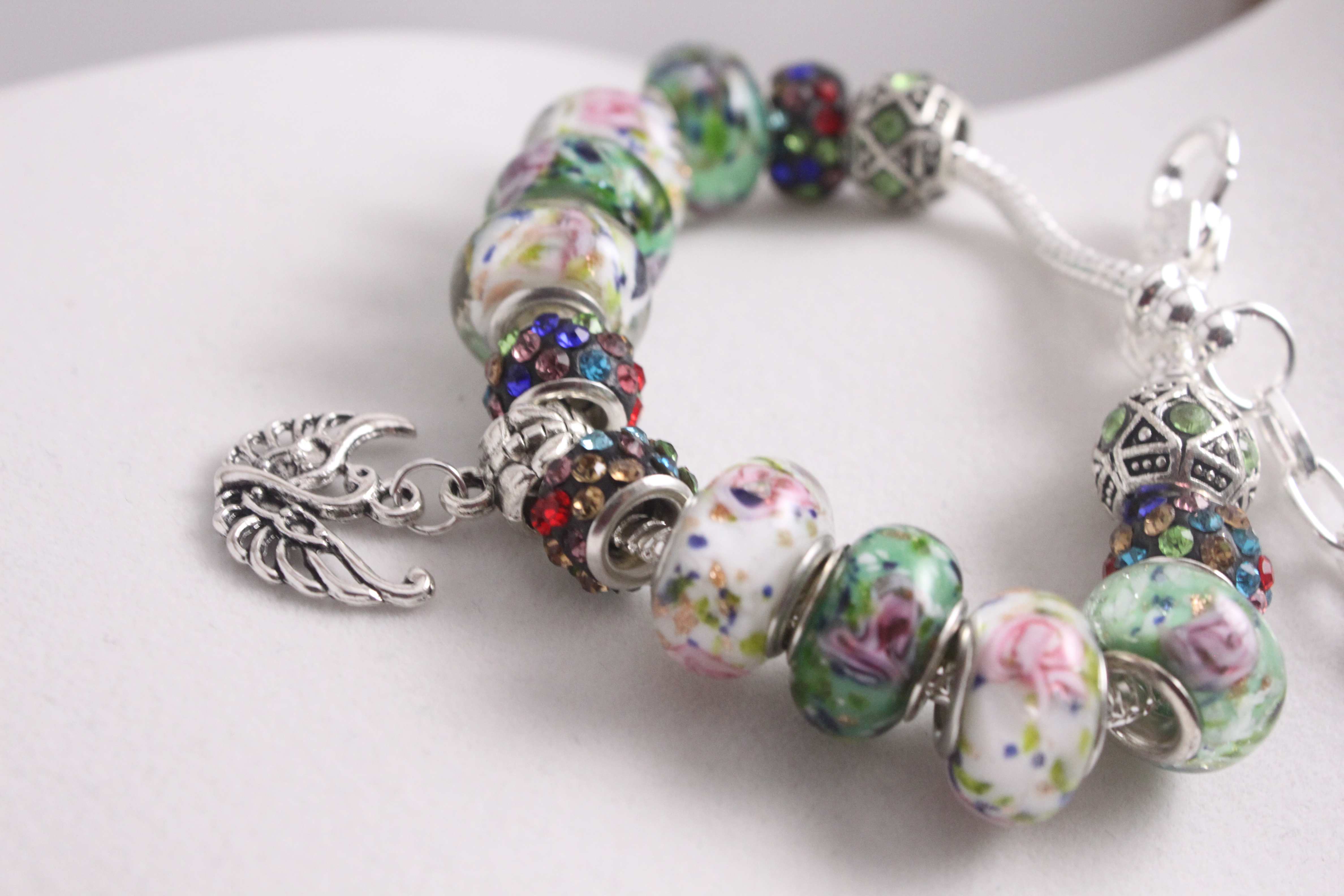Bird charm bracelet - multi color