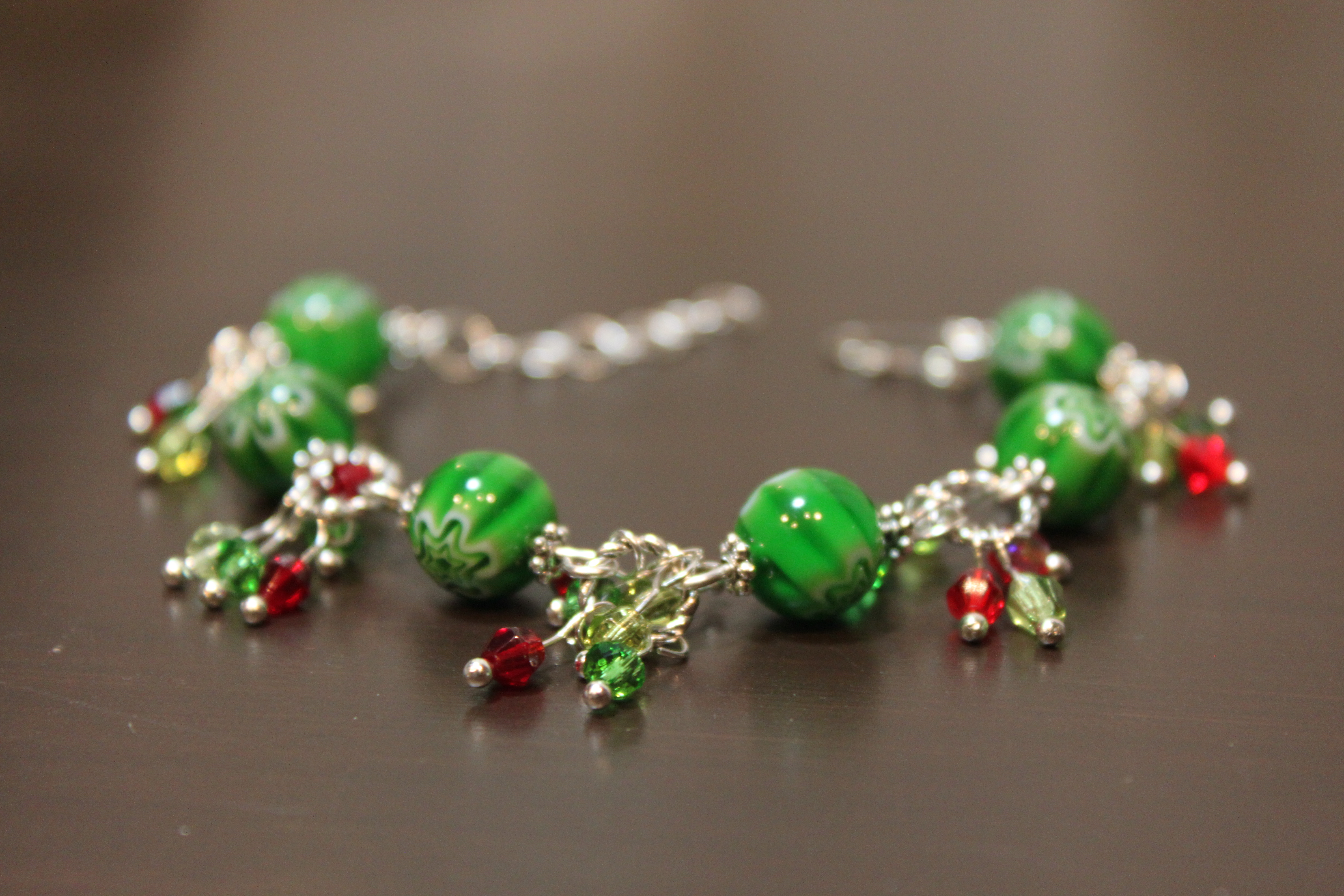 Bracelet with green beads