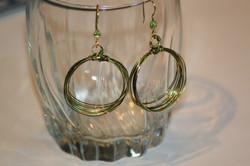 Hoop earrings multi layer green