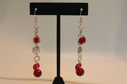 Red Ruby Earrings Silver Tone Spiral