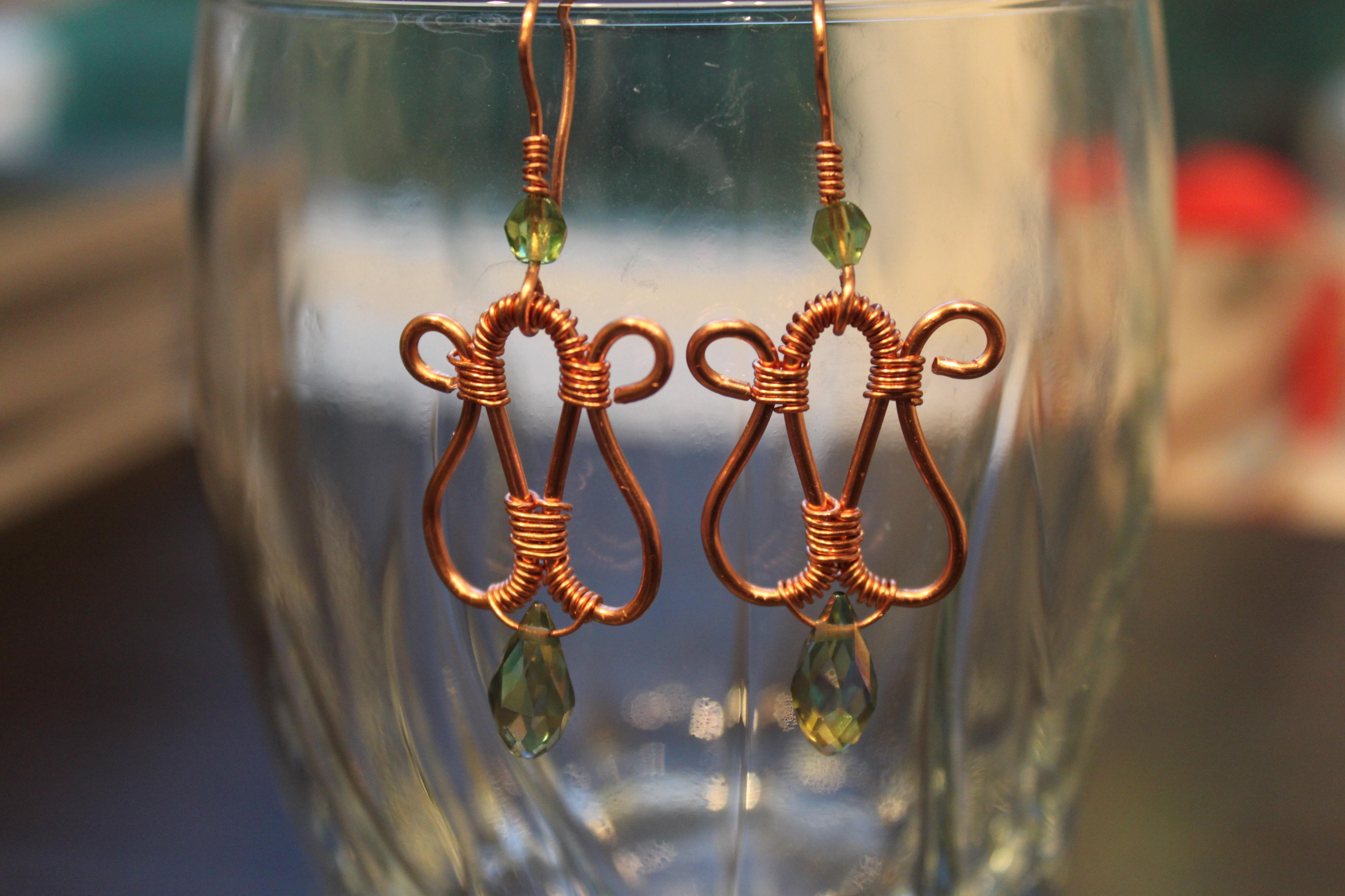 Earrings-coiled copper wire-teardrop