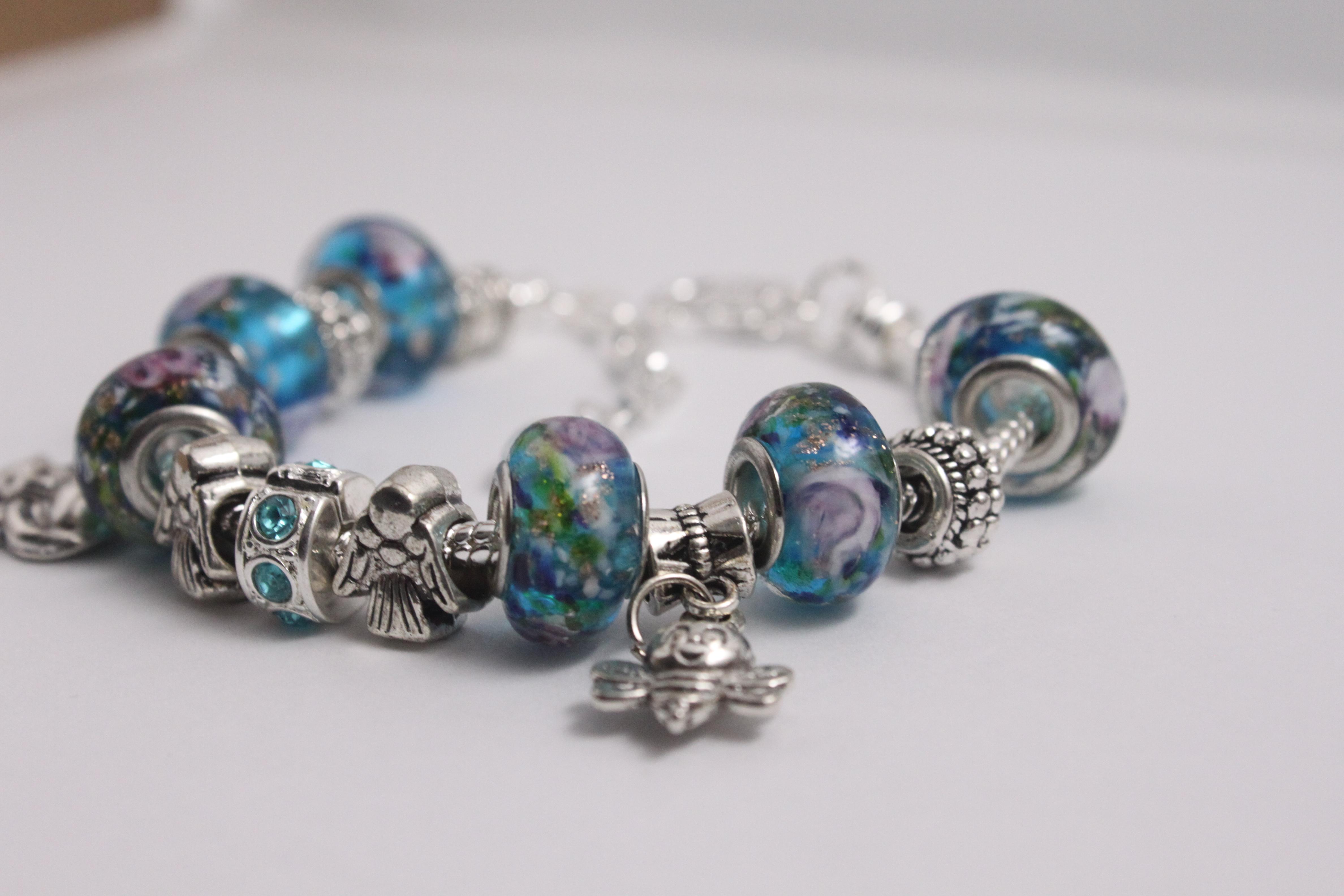 Double charm bracelet - various blue