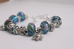 Double charm bracelet - various blue