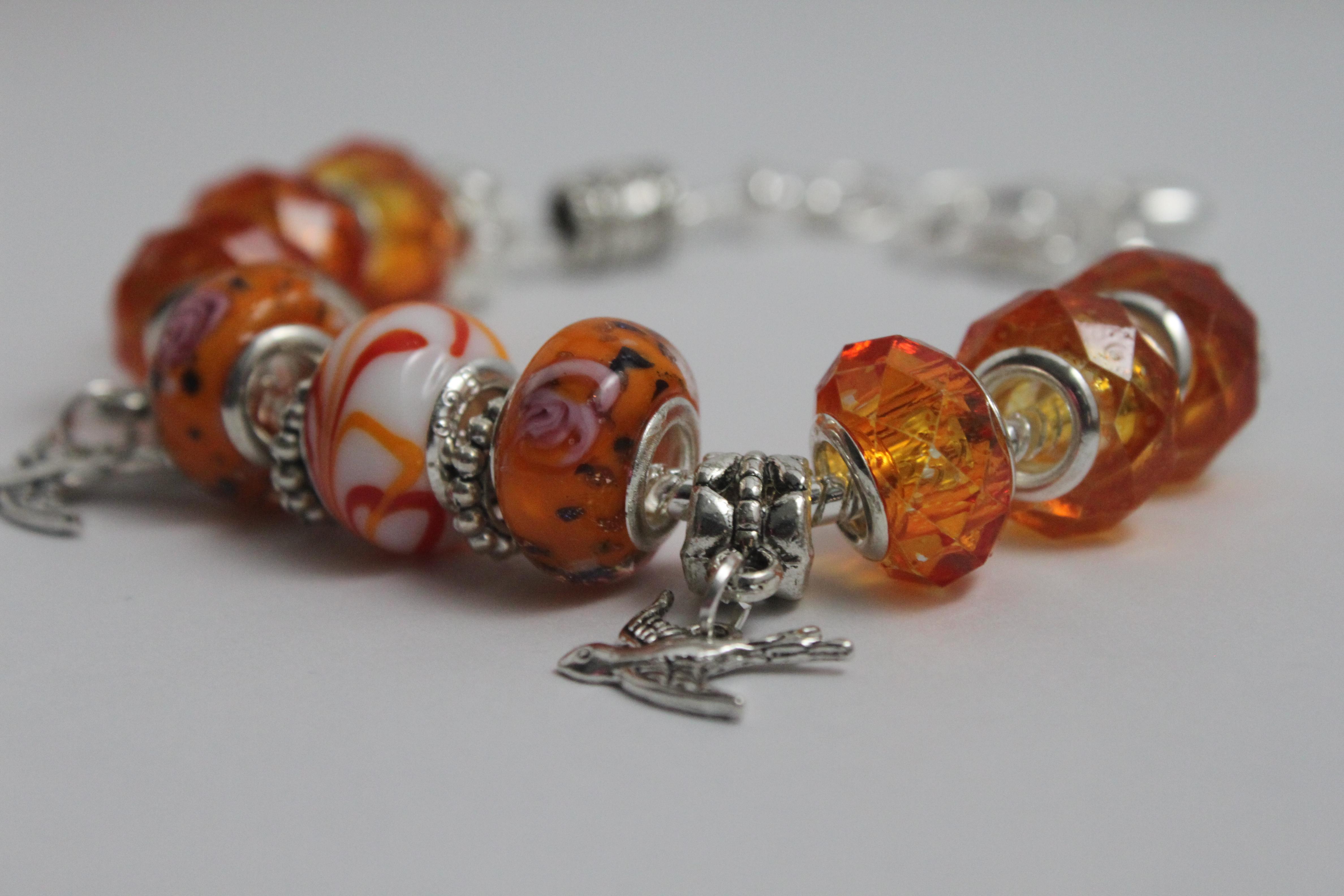 Double bird charm bracelet - orange